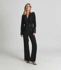 REISS LUKA TUX JUMPSUIT BLACK ~ chic tuxedo inspired evening jumpsuits