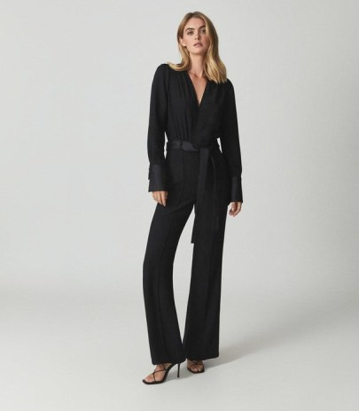 REISS LUKA TUX JUMPSUIT BLACK ~ chic tuxedo inspired evening jumpsuits - flipped
