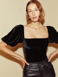 Reformation Luka Velvet Top in Black – romantic style fitted bodice tops