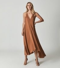 REISS MABEL PLUNGE NECK MAXI DRESS CARAMEL ~ brown floaty skinny strap occasion dresses ~ deep V plunging evening fashion