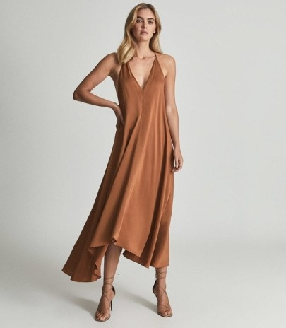 REISS MABEL PLUNGE NECK MAXI DRESS CARAMEL ~ brown floaty skinny strap occasion dresses ~ deep V plunging evening fashion - flipped