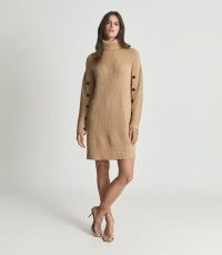 Reiss MAGGIE BUTTON-SLEEVE RIB-KNIT ROLL-NECK DRESS CAMEL | chunky high neck jumper dresses | light brown ribbed sweater dress | stylish knitted fashion