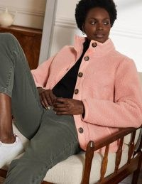 BODEN Marcia Sherpa Jacket Milkshake / pink textured faux shearling and faux leather trim jackets