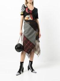 Marine Serre tartan-checked scarves skirt ~ mixed check print skirts ~ asymmetric hem ~ multi prints