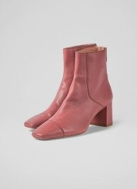 L.K. BENNETT MAXINE ROSE LEATHER STITCH-DETAIL ANKLE BOOTS ~ deep pink square toe boots