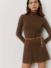 REFORMATION Maya Dress in Cafe ~ brown rib knit mock neck mini dresses ~ retro look fashion