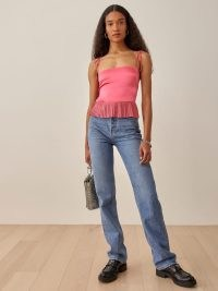 REFORMATION Mercer Top in Snapdragon ~ pink skinny strap fitted bodice pleated peplum hem tops