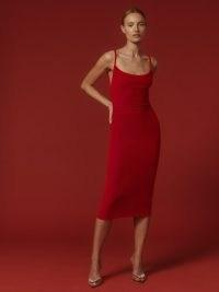 REFORMATION Merel Velvet Dress in Cherry / red luxe style scoop back evening dresses