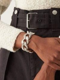 ISABEL MARANT Chunky chain-link silver-tone metal bracelet – designer statement bracelets