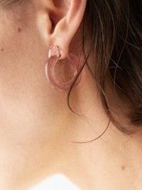 ANNIKA INEZ Glassy pink glass & 14kt gold earrings / clear luxe style hoops