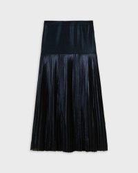 Ted Baker VIND Metallic Knife Pleat Midi Skirt With Split in Dark Navy   blue pleated evening skirts   shimmering occasion fashion   slit hem