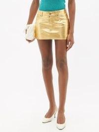 SAINT LAURENT Low-rise metallic-leather mini skirt in gold ~ luxe designer skirts