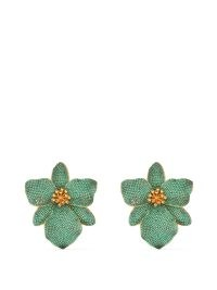 BEGUM KHAN Singapore Orchid 24kt gold-plated earrings ~ large green statement clip on earrings ~ floral jewellery ~ glamorous flower accessories