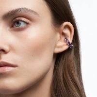 Millenia ear cuff Octagon cut Swarovski Zirconia, Purple, rhodium-plated setting – coloured crystal ear cuffs – lavender hue crystals