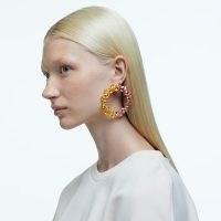 SWAROVSKI Millenia hoop earrings Pear cut crystals, Multicoloured, Gold-Tone – large statement hoops – glamorous jewellery – crystals