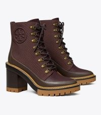 TORY BURCH MILLER LUG-SOLE ANKLE BOOT in Fig / Coconut ~ womens brown chunky lace up boots ~ women's casual winter footwear