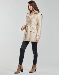 MORGAN GIZA Trench Coat in Beige ~ womens stylish belted coats ~ spartoo outerwear