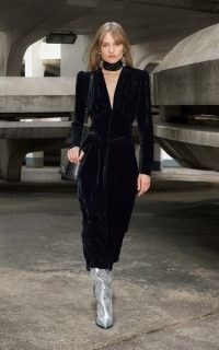 Isabel Marant Moyrani Velvet Midi Dress in Black – 70s inspired evening fashion – puff sleeve plunge front dresses