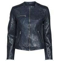 NAF NAF CENTAURE Faux Leather Jacket in Marine ~ womens blue zip detail jackets ~ spartoo women's fashion