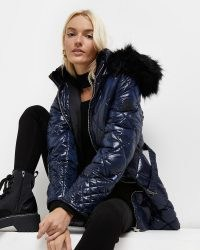 RIVER ISLAND Navy longline belted padded coat ~ blue quilted faux fur hood coats ~ on-trend winter outerwear