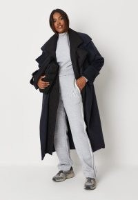 MISSGUIDED navy quilt lining detail belted trench coat ~ fashionable dark blue tie waist winter coats