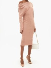 TOM FORD Asymmetric off-the-shoulder cashmere-blend dress ~ chic knitted dresses ~ wowmens designer knitweart fashion