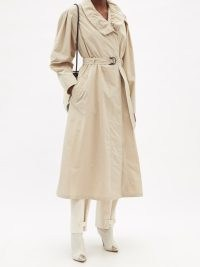 ISABEL MARANT Dipanima beige frill-neck canvas trench coat – chic belted ruffle neck coats – womens stylish autumn and winter outerwear