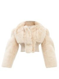 GIVENCHY G-link crystal-embellished necklace / luxe beige crop hem winter jackets / glamorous outerwear