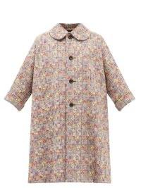 COMME DES GARÇONS COMME DES GARÇONS Floral-embroidered Glen-check tailored coat / womens vintage style mixed print coats / women's checked retro outerwear