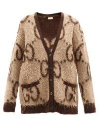 GUCCI GG-jacquard mohair-blend cardigan in beige | womens oversized designer monogram cardigans | women's knitwear