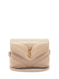 SAINT LAURENT Loulou Toy beige quilted-leather cross-body bag – small luxe shoulder bags – luxury padded chunky style handbags – YSL logo plaque bags