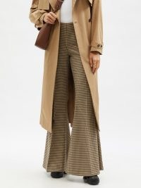 STELLA MCCARTNEY Mona houndstooth-check wool flared-leg trousers | womens chic retro flares