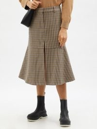 STELLA MCCARTNEY Naomi checked flared wool midi skirt | houndstooth check flare hem skirts | womens designer fashion