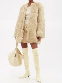 KHAITE Remy beige faux-fur coat – fluffy luxe winter coats – luxury retro outerwear