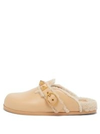 VALENTINO GARAVANI Roman Stud shearling backless loafers in beige | luxe style casual flat mules