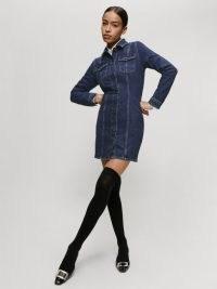 REFORMATION Newman Denim Mini Dress in Amani ~ blue shirt style regenerative cotton dresses