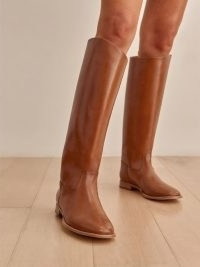 REFORMATION Nina Riding Boot in Nutmeg ~ brown pull-on knee high boots