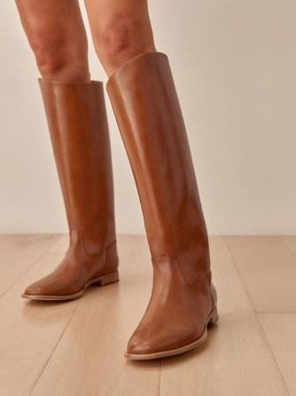 REFORMATION Nina Riding Boot in Nutmeg ~ brown pull-on knee high boots - flipped