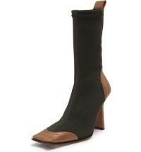 MIISTA Noelle Boot in Brown ~ colour block square toe boots