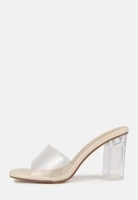MISSGUIDED nude wide fit clear block mid heel mules / chunky transparent mule sandals