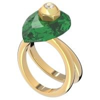 Numina ring Pear cut crystal, Green, Gold-tone plated – sculptural cocktail rings – statement jewellery – coloured crystals