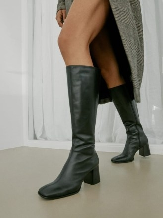 REFORMATION Nylah Nappa Knee Boot in Black ~ square toe block heel boots - flipped