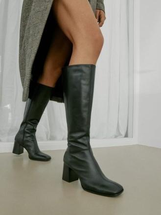 REFORMATION Nylah Nappa Knee Boot in Black ~ square toe block heel boots