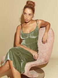 Reformation Oda Velvet Dress in Artichoke – strappy luxe green smocked bodice dresses