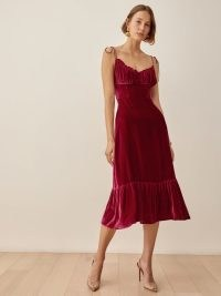 REFORMATION Oda Velvet Dress Crimson / red skinny tie strap fitted bodice dresses