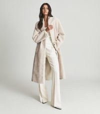 REISS ODETTE SHEARLING COAT CREAM ~ women's luxe open front longline coats ~ womens luxury winter outerwear