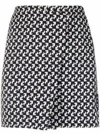 Off-White abstract-print wrap skirt black / white | monochrome printed skirts