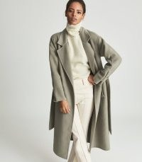 REISS OLIVE WOOL BLEND OVERSIZED OVERCOAT KHAKI ~ chic green tie waist overcoats ~ womens stylish drop shoulder wrap coats