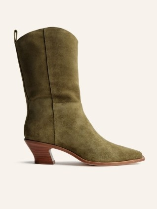 REFORMATION Onesta Western Boot in Olive Suede ~ green calf length curved block heel boots - flipped