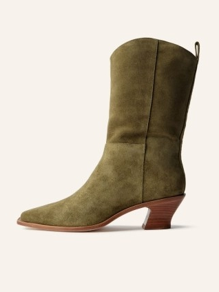REFORMATION Onesta Western Boot in Olive Suede ~ green calf length curved block heel boots